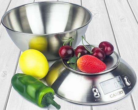 CAMRY Digital Kitchen Scale High Accuracy Multifunction Food Scale with Removable Bowl 2.15l Liquid Volume, Room Temperature, Alarm Timer, Backlight LCD Display, Stainless Steel, 11lb:5kg