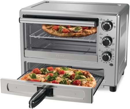 Oster Convection Oven with Dedicated Pizza Drawer, Stainless Steel