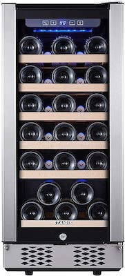 STAIGIS Wine Refrigerator - 15 Inch Wine Cooler with Stainless steel Frame Glass Front Door - Mini Fridge for Built In & Freestanding at Home, Office, Kitchen And Bar