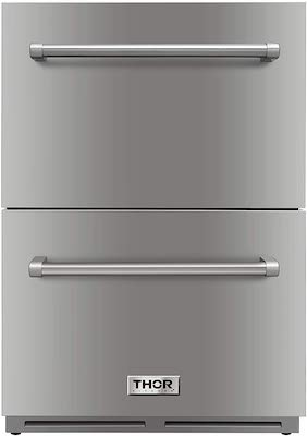 """Thor Kitchen 24"""" Indoor and Outdoor Double Drawer Under-Counter Built-in Fridge Refrigerator in Stainless Steel 5.3cu.ft"""